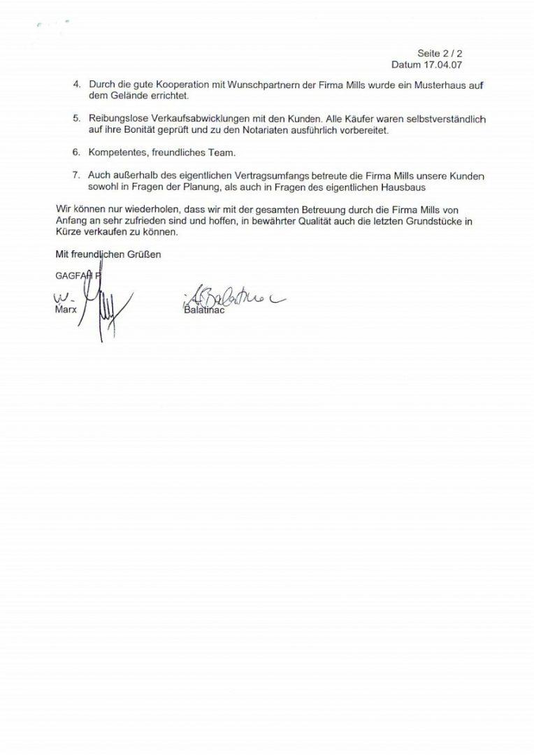 GAGFAH Schreiben Bestätigung hervorragend Zusammenarbeit mit Mills Immobilien Teil2