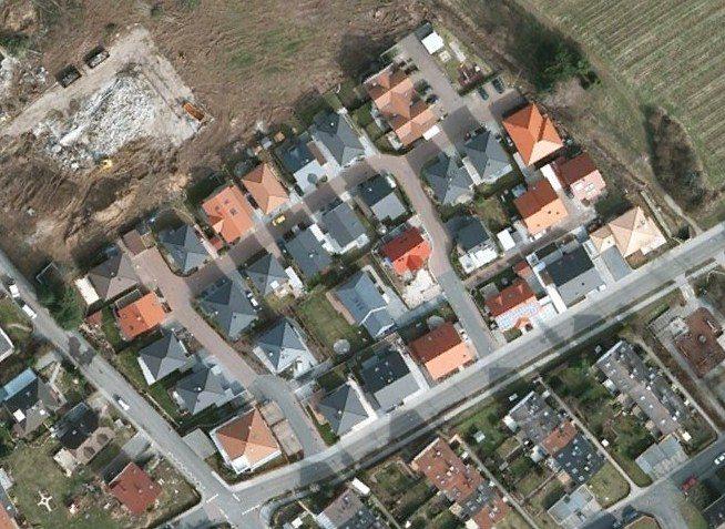 GAGFAH Luftbild fertige Häuser und Baustelle