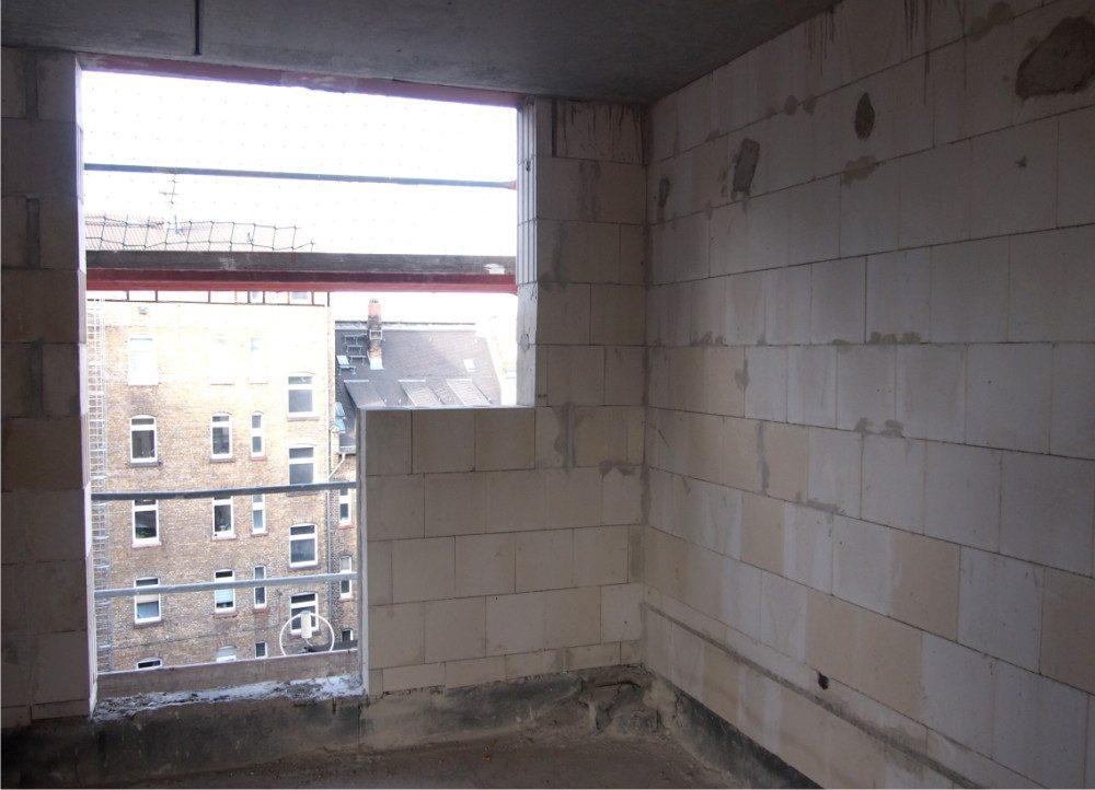 Neckarstrasse Zimmer Neubau mit Fenster während Umbau